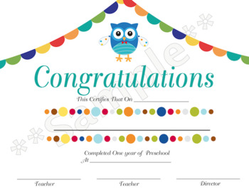 Owl Preschool Diploma