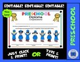 Preschool Diploma - Let's Celebrate! Theme - Editable