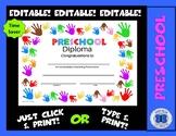 Preschool Diploma - Painting Hands Theme - Editable