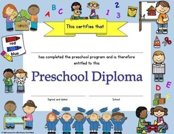 Preschool Diplomas, Certificates, Graduation Invitations Editable