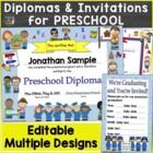 Preschool Diplomas, Certificates, Graduation Invitations Editable