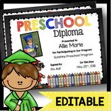 Preschool Diplomas - Certificates EDITABLE - Chalkboard - Graduation - Promotion