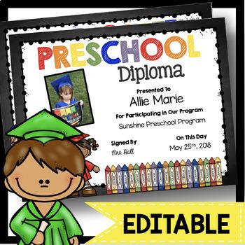 Preschool Diplomas - EDITABLE - Chalkboard - Graduation