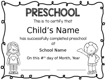 Preschool Diplomas - Editable