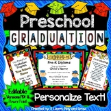 "Preschool Diplomas, Invitations, Program - ""How To"" Kit EDITABLE PDF & PP"