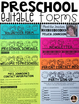 Preschool Editable Forms