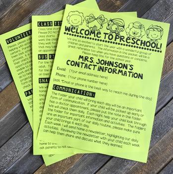Back to School Editable Forms Preschool and Kindergarten