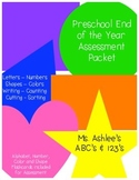 Preschool End of the Year Assessment Packet