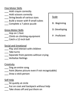Preschool Evaluation