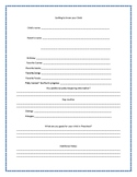 Preschool FREE Information Worksheet Getting to Know your