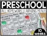 Preschool Fall Learning Menus | DISTANCE LEARNING GOOGLE S