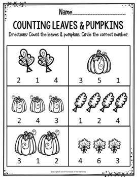 Preschool Fall Theme Printable Worksheets