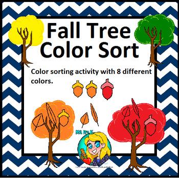 Preschool Fall Tree Color Sorting Mats