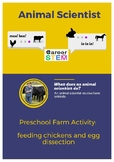 Preschool Farm Activity: feeding chickens and egg dissection