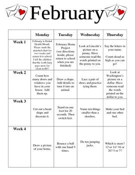 Preschool February Homework
