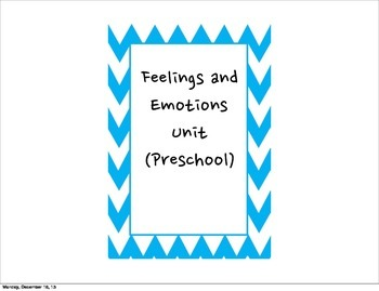 Preschool- Feelings and Emotions Student Objectives