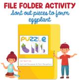 Preschool File Folder Activity, Sort Out Eggplant pieces