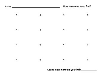 Preschool Find the Number 1-10 Activity Math Counting K3 K4
