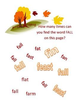 Preschool Find the Word Fall