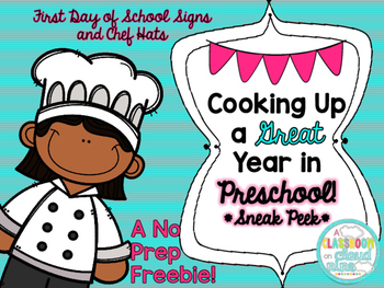 Preschool First Day of School Hat and Sign No Prep Freebie