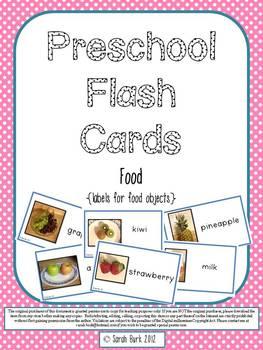 Preschool Flash Cards/Labels - Food