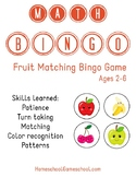 Preschool Fruit Matching Bingo - Teaches Colors, Matching,