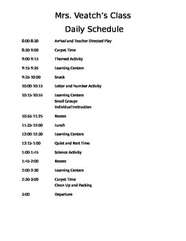 Preschool Full Day Schedule