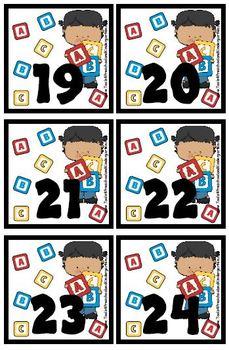 Preschool Fun theme Calendar Cover-Ups / Memory Game - Cla