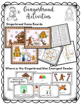 Gingerbread Activities Emergent Reader and Games