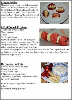 Pre K - Grade 1 Cooking Activities