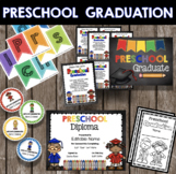 Preschool Graduation Bundle - EDITABLE - Diploma - Invitations - Banner - Decor