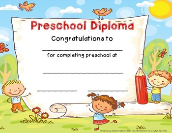 Preschool Diploma Graduation Certificate Preschool End of Year Certificate