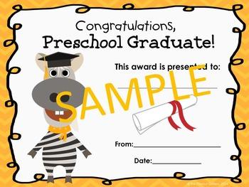 Preschool Graduation Certificates (Animal Theme)