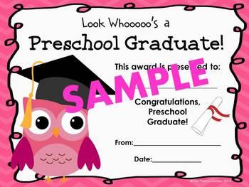 Preschool Graduation Certificates (Owl Theme)