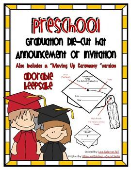 Preschool Graduation Die Cut Hat Announcment or Invitation