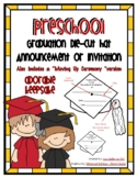 Preschool Graduation Die Cut Hat Announcement or Invitation