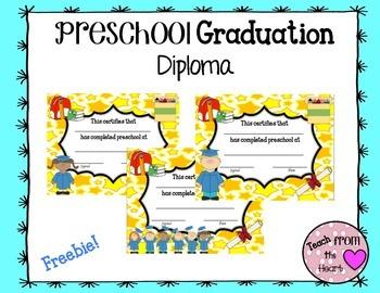 Preschool Graduation Diploma FREEBIE