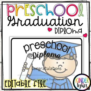Preschool Graduation Diploma with EDITABLE file