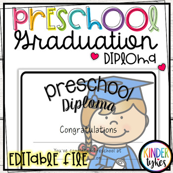Preschool Graduation Diploma with EDITABLE file (Girl Graduate)