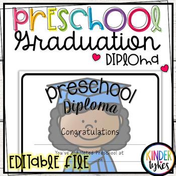 Preschool Graduation Diploma with EDITABLE file (Girl Graduate)