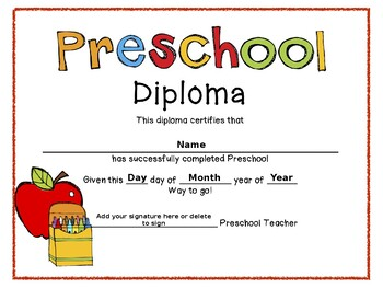 Preschool Graduation Diplomas