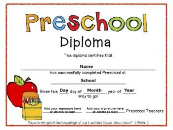 Preschool Graduation Diplomas by Bethany Riethmaier | TpT