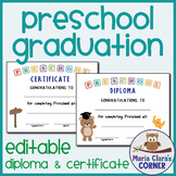 Editable Preschool Graduation Diplomas & Certificates