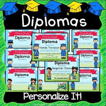 Preschool Graduation Diplomas, Invitations, Program, Poems, Songs and More