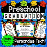 Preschool Graduation Diplomas, Invitations, and Program for Ceremony - EDITABLE