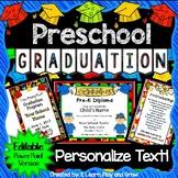 Preschool Graduation Diplomas Invitations and Program for Ceremony EDITABLE PP