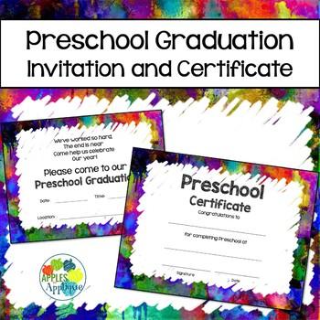 Preschool Graduation Invitation & Certificate in Watercolor