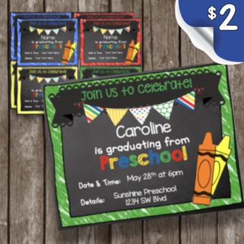 Preschool Graduation Invitation - EDITABLE - Chalkboard
