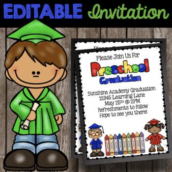 Preschool graduation invitation editable announcement tpt preschool graduation invitation editable announcement filmwisefo