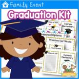 Preschool Graduation Kit - Diplomas Certificates Invitations Program  - EDITABLE